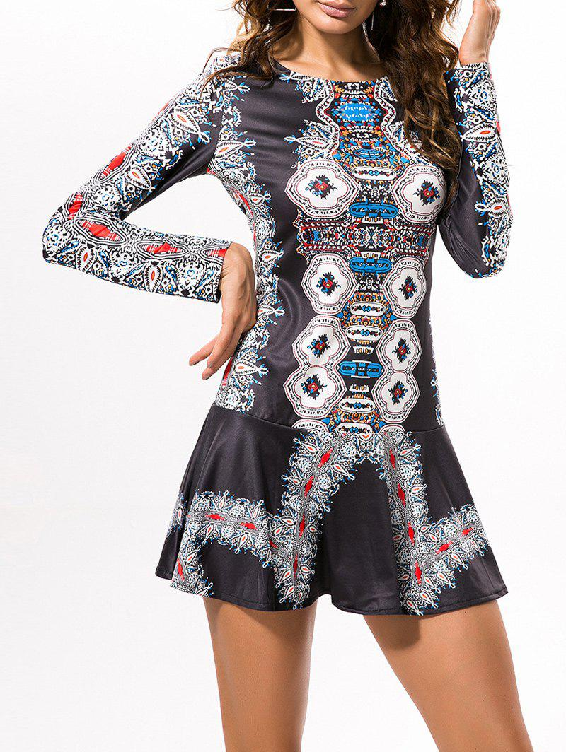 black 2xl cut out vintage printed mini dress. Black Bedroom Furniture Sets. Home Design Ideas