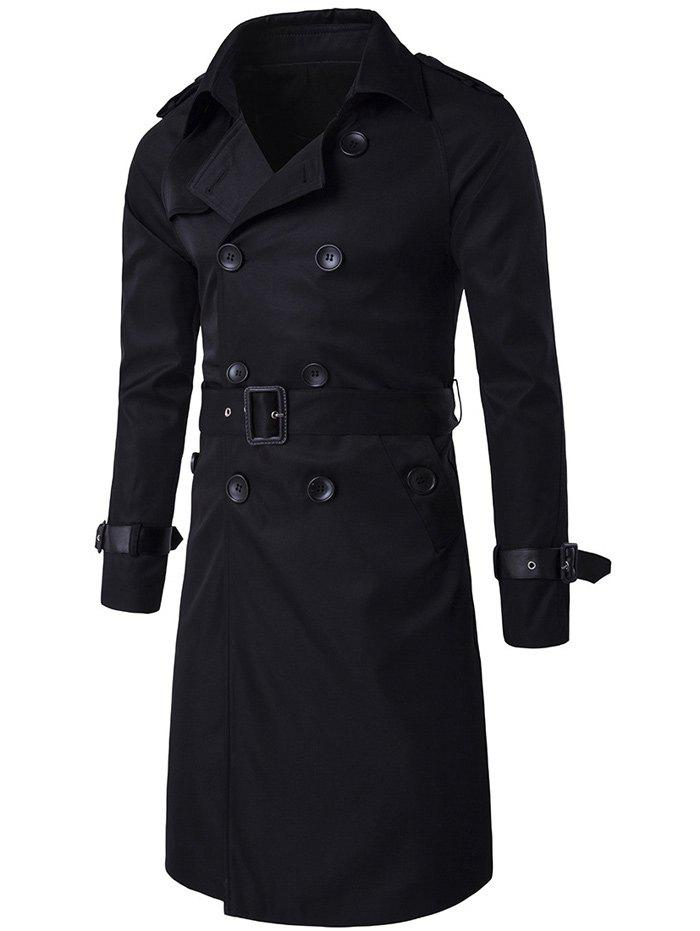 Online Epaulet PU-Leather Belt Embellished Double-Breasted Long Trench Coat