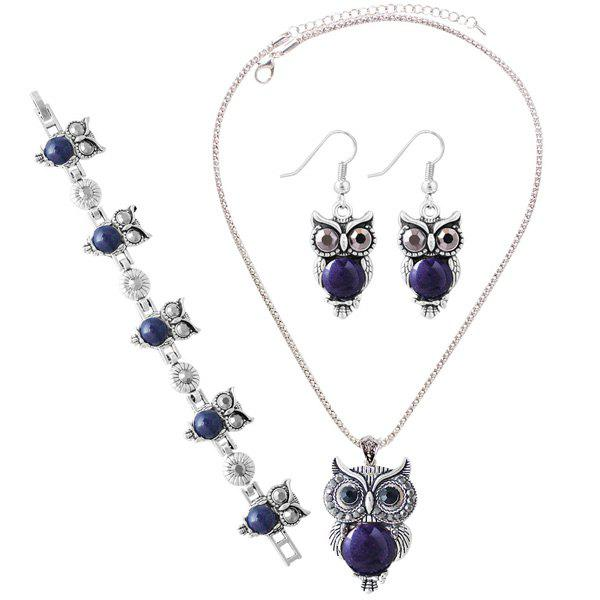 A Suit of Faux Gem Owl Jewlry SetJEWELRY<br><br>Color: DEEP BLUE; Item Type: Pendant Necklace; Gender: For Women; Style: Noble and Elegant; Shape/Pattern: Animal; Length: 45CM; Weight: 0.060kg; Package Contents: 1 x Necklace 1 x Bracelet 1 x Earrings(Pair);