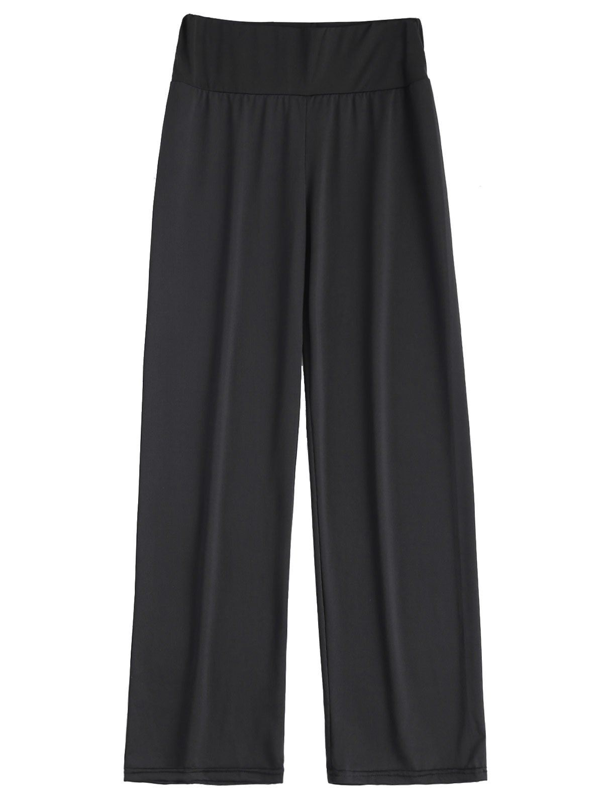 Long Stretch Elastic Waist Wide Leg Work PantsWOMEN<br><br>Size: XL; Color: BLACK; Style: Casual; Length: Normal; Material: Polyester; Fit Type: Loose; Waist Type: Mid; Closure Type: Elastic Waist; Pattern Type: Solid; Pant Style: Wide Leg Pants; Elasticity: Elastic; With Belt: No; Weight: 0.209kg; Package Contents: 1 x Pants;