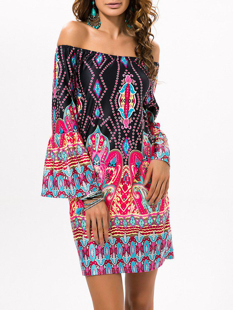 Unique Off The Shoulder Print Mini Dress with Sleeves