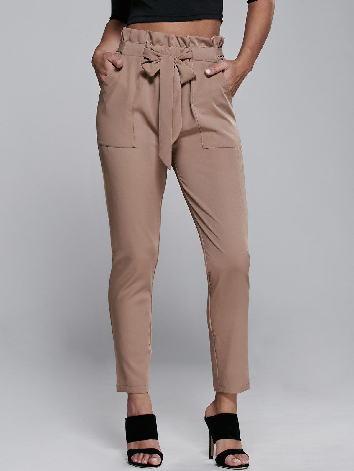 Outfits High Waisted Belted Slimming Narrow Feet Pants