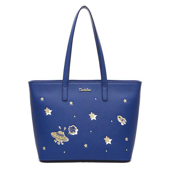 Unique PU Leather Star Pattern Embroidery Shoulder Bag