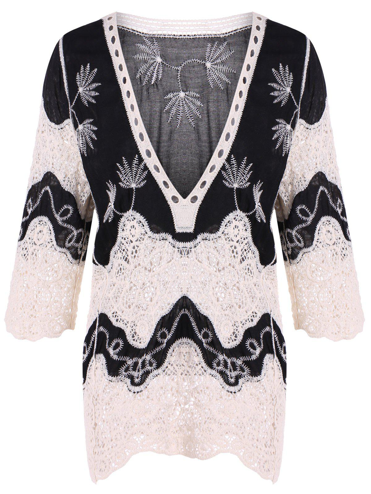 Lace Splicing Plunge Neck BlouseWOMEN<br><br>Size: 2XL; Color: BLACK; Material: Polyester; Shirt Length: Regular; Sleeve Length: Three Quarter; Collar: Plunging Neck; Style: Fashion; Season: Fall,Spring; Pattern Type: Others; Weight: 0.350kg; Package Contents: 1 x Blouse;