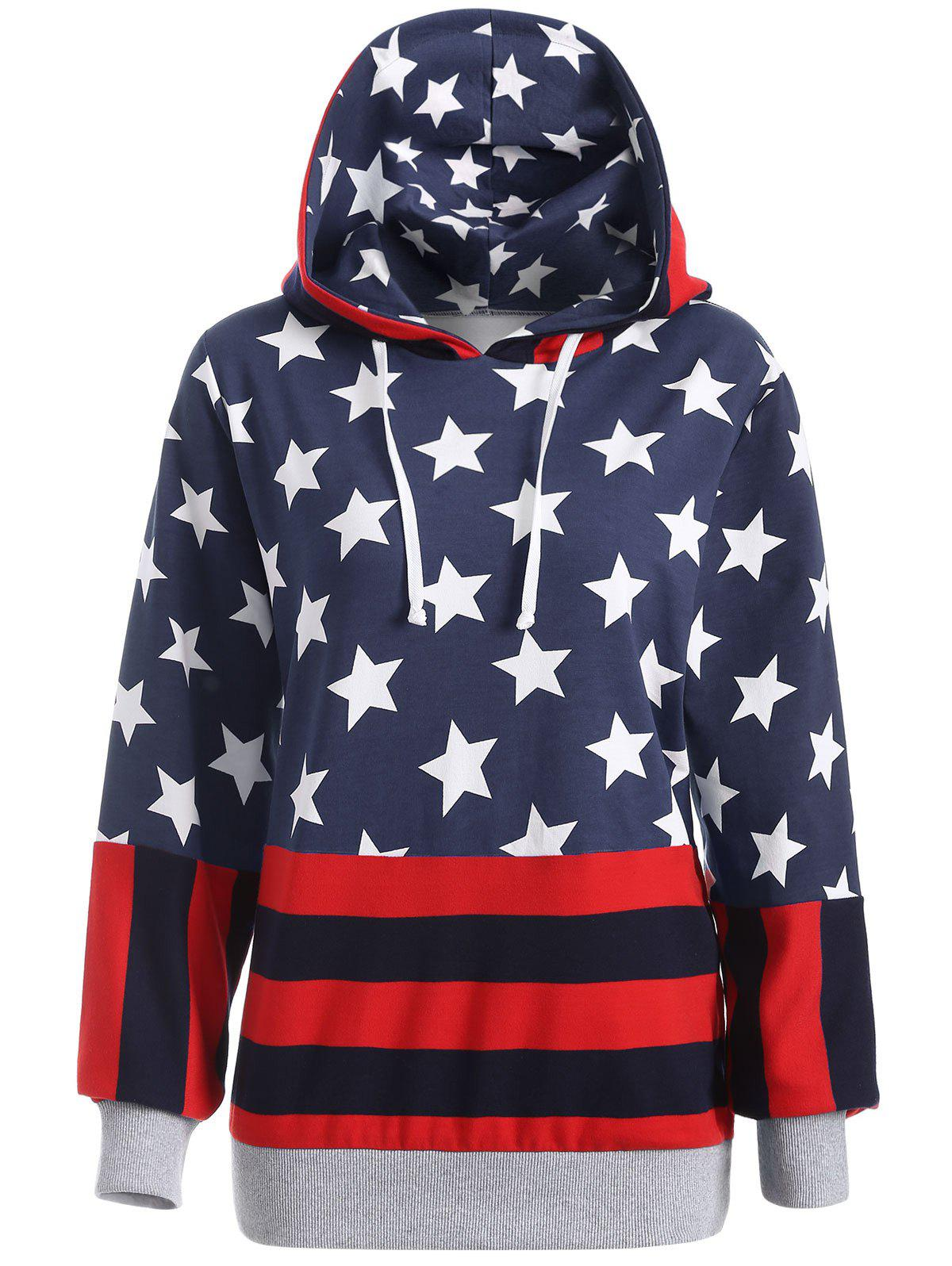 Affordable Flag Print Pullover Hoodie