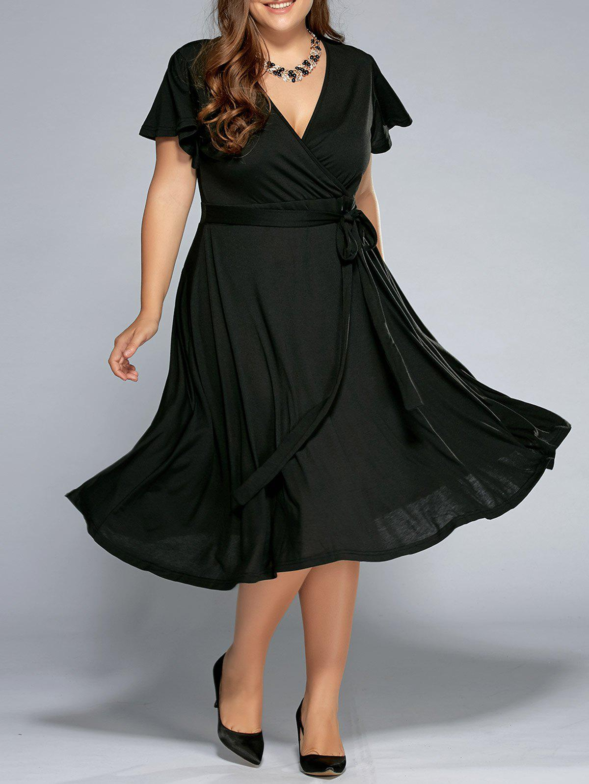 Low Cut A Line Plus Size Surplice Front Tie Swing DressWOMEN<br><br>Size: 4XL; Color: BLACK; Style: Casual; Material: Cotton,Polyester; Silhouette: A-Line; Dresses Length: Mid-Calf; Neckline: V-Neck; Sleeve Length: Short Sleeves; Pattern Type: Solid; With Belt: No; Season: Summer; Weight: 0.5260kg; Package Contents: 1 x Dress;