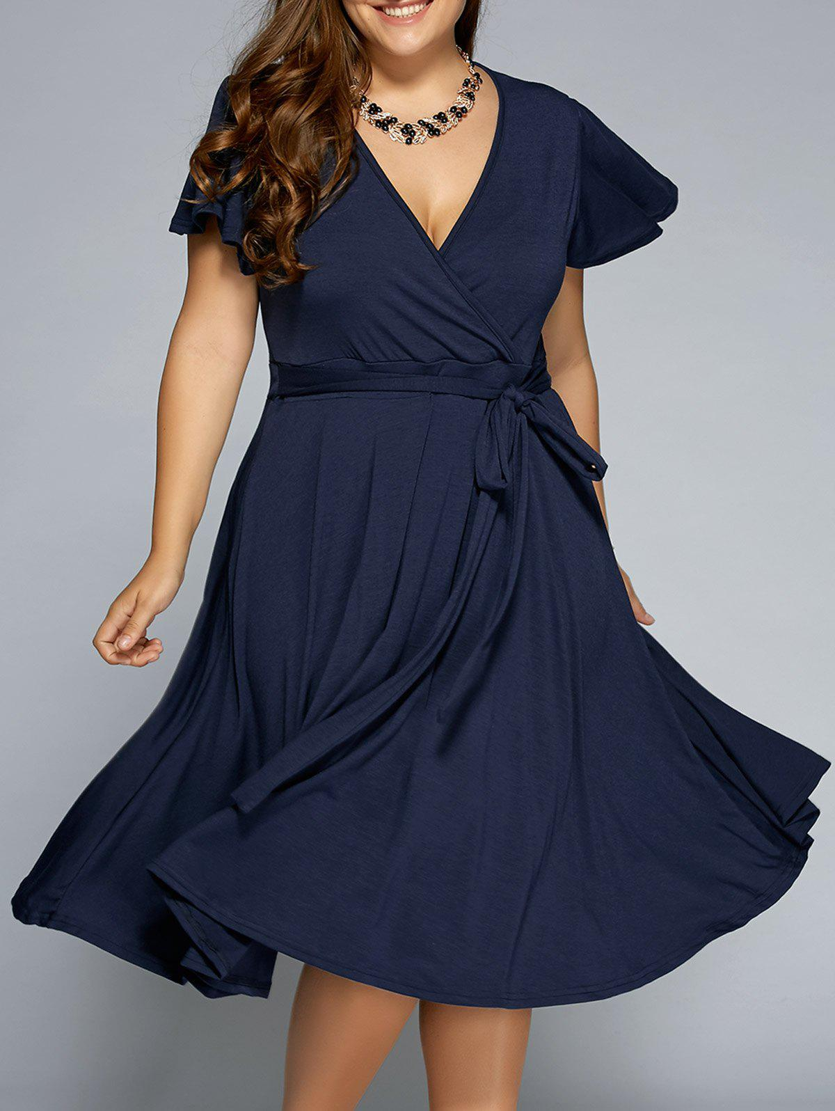 Low Cut A Line Plus Size Surplice Front Tie Swing DressWOMEN<br><br>Size: 9XL; Color: PURPLISH BLUE; Style: Casual; Material: Cotton,Polyester; Silhouette: A-Line; Dresses Length: Mid-Calf; Neckline: V-Neck; Sleeve Length: Short Sleeves; Pattern Type: Solid; With Belt: No; Season: Summer; Weight: 0.5260kg; Package Contents: 1 x Dress;