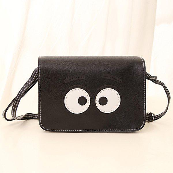 Stitching Cartoon Eyes Crossbody BagSHOES &amp; BAGS<br><br>Color: BLACK; Handbag Type: Shoulder bag; Style: Fashion; Gender: For Women; Pattern Type: Others; Handbag Size: Small(20-30cm); Closure Type: Cover; Occasion: Versatile; Main Material: PU; Size(CM)(L*W*H): 21*16*5.5; Weight: 0.246kg; Package Contents: 1 x Crossbody Bag;
