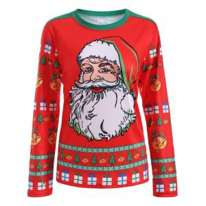 Cute Long Sleeve 3D Santa Claus Print Christmas T-Shirt - Red - Xl