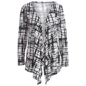 Autumn Scrawl Plaid Print Irregular Cardigan - Black - L