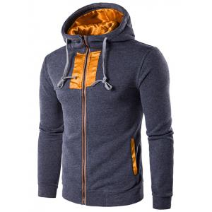 Color Block Edging Zip-Up Hooded Hoodie