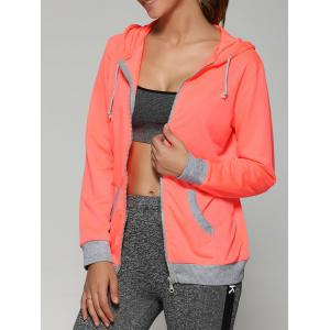 Zip Up Drawstring Orange Hoodie With Pockets