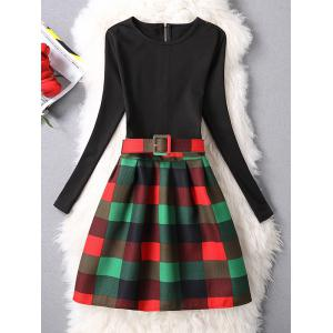 Belted Checked A-Line Dress