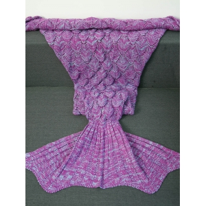 Crochet Knitting Fish Scales Design Mermaid Tail Style Blanket - Light Purple - S
