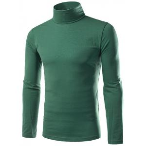 Turtleneck Slim Fit Long Sleeve Plain T-Shirt