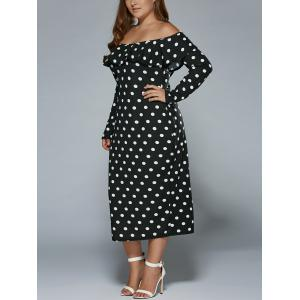 Plus Size Off Shoulder Long Sleeve Polka Dot Midi Dress
