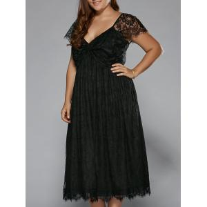 Plus Size Low Cut Empire Waist Lace Prom Dress - Black - 3xl