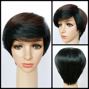 Shaggy Short Boy Cut Straight Side Bang Synthetic Wig