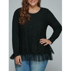 Plus Size Lace Spliced Top Long Sleeve Blouse - Black - L
