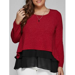 Plus Size Long Sleeve Chiffon Spliced Blouse - Deep Red - 2xl
