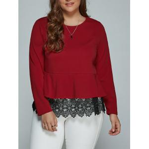 Plus Size Long Sleeve Lace Spliced Blouse - Deep Red - 2xl