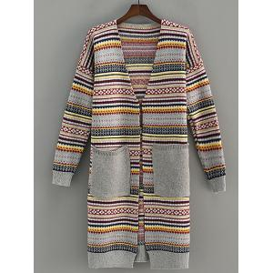 Pocket Design Stripe Jacquard Cardigan - Gray - One Size