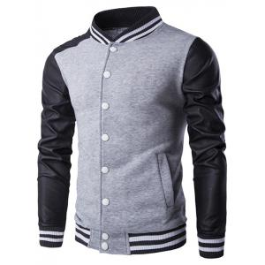 Faux Leather Insert Varsity Striped Button Up Jacket - Gray - M