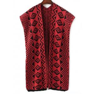 Vintage Zigzag Stripe Sleeveless Cardigan Sweater Vest - Red - One Size