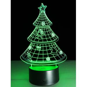Funny 3D Christmas Tree Shape Touch Colorful Night Light - Transparent - S
