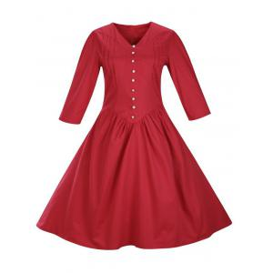 Retro Front Button Flare Tea Length Party Dress