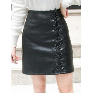 High Waist Lace-Up Faux Leather Skirt - Black - S