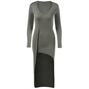 V-Neck Asymmetrical Long Sleeve High Low Slimming Dress