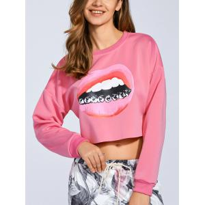 Cropped 3D Lip Print Sweatshirt - Shallow Pink - M