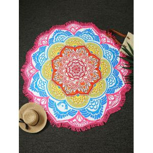 Flower Print Fringed Round Beach Throw - Pink - One Size