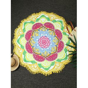 Round Fringed Flower Shape Beach Throw - Yellow - One Size