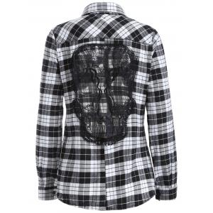 Lace Panel Long Sleeve Skull Gingham Plaid Shirt - White And Black - M