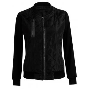Padded Two Tone Quilted Bomber Jacket - Black - S