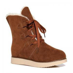 Suede Lace-Up Snow Boots