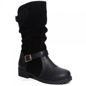 PU Leather Spliced Flock Buckle Slouch Boots