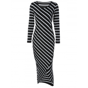 Striped Asymmetric Long Sleeve Bodycon Maxi Dress