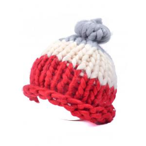 Warm Color Block Coarser Knit Snow Hat