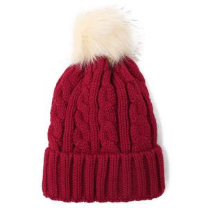 Winter Casual Fuzzy Ball Hemp Flowers Crochet Thicken Double-Deck Knit Beanie - Wine Red - One Size