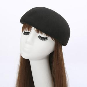 Winter Casual Half Melon Shape Felt Hat - Black - One Size