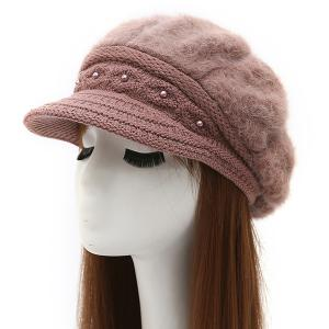 Warm Faux Pearl Embellished Faux Fur Angora Newsboy Hat