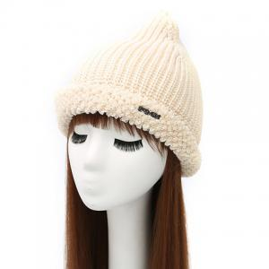 Winter Casual Label Double-Deck Crochet Thicken Knit Triangle Hat - Off-white - One Size