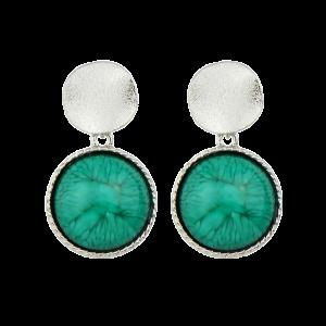Faux Gem Circle Sequin Earrings - Silver - S