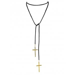 Faux Leather Velvet Crucifix Pendant Necklace