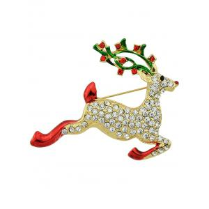 Rhinestone Elk Christmas Brooch - Golden