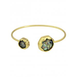 Natural Stone Floral Cuff Bracelet - Colormix - One-size