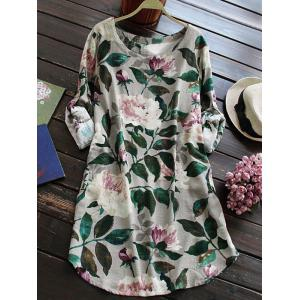 Linen Floral Printed Shirt Dress with Sleeves - Gray - S
